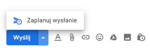 Zaplanowanie wysyłki wiadomości w G Suite