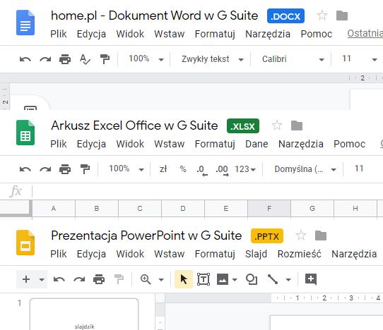 Edycja plików Office w G Suite - rozszerzenia dokumentów