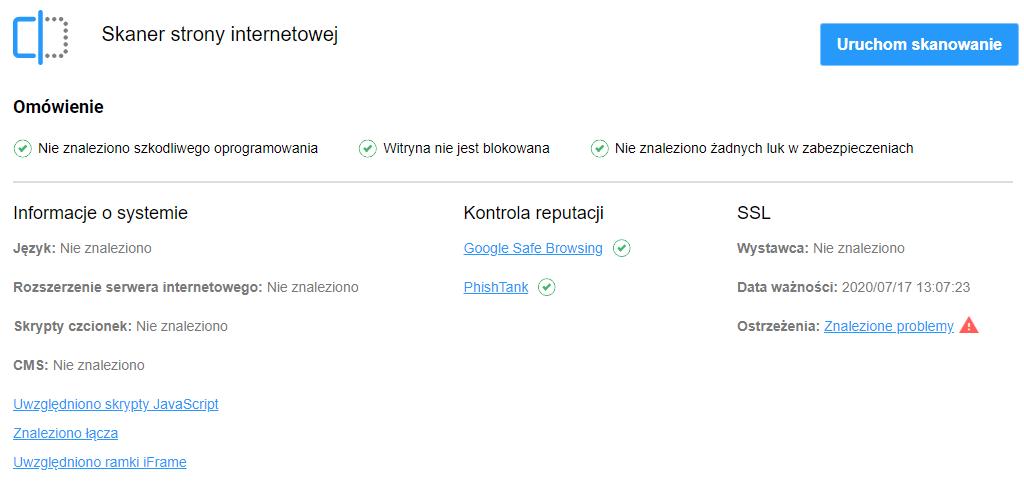 Ochrona WWW - skaner antywirusowy w home.pl