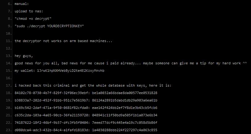 Kody deszyfracji Muhstik na stronie pastebin