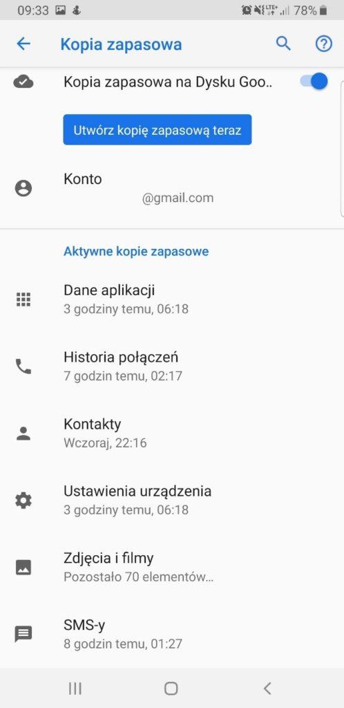 Aktywacja kopii zapasowej na Androidzie