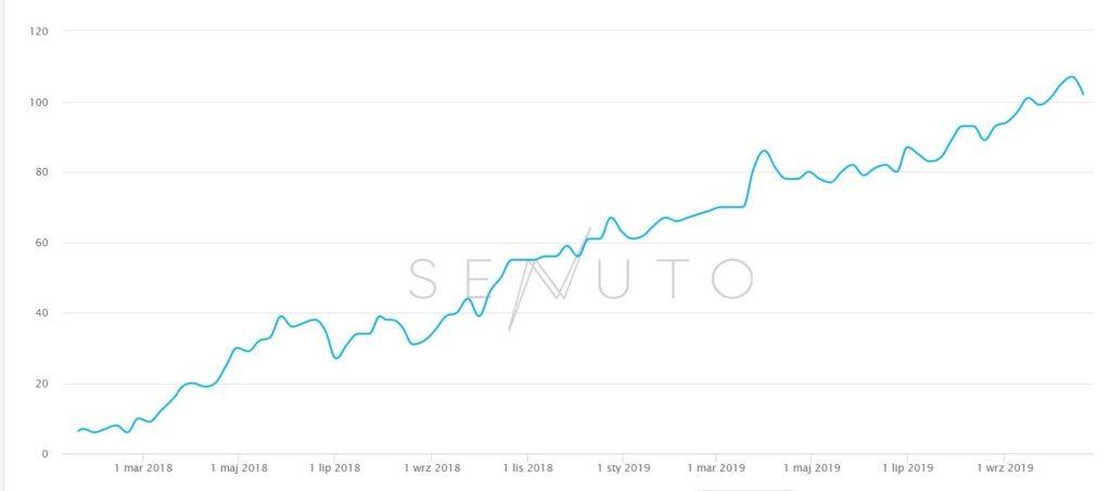 Wykres Senuto - pozycjonowanie strony WWW
