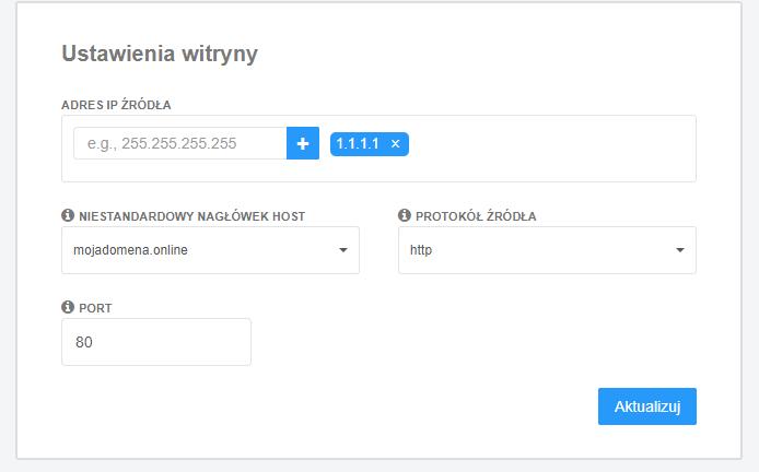 Darmowy CDN - ustawienia w usłudze Ochrona WWW (home.pl)