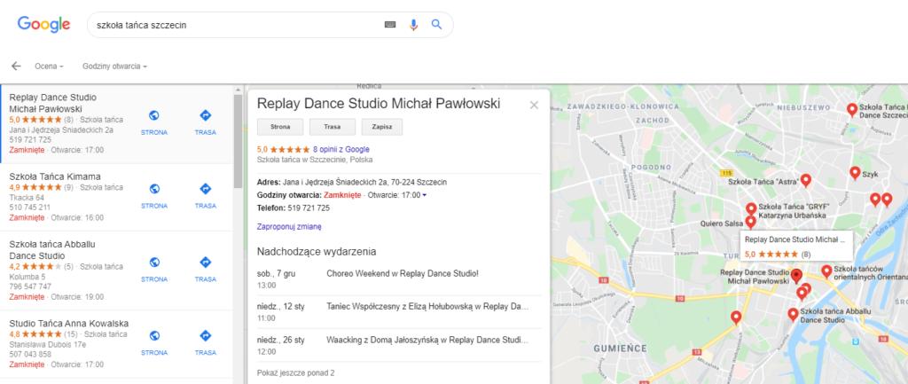 szkoła tańca szczecin - wizytówka Google Moja Firma