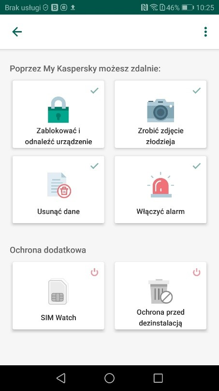 Moduł antykradzieżowy - Kaspersky for Android