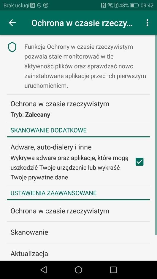 Ochrona w czasie rzeczywistym - Kaspersky for Android