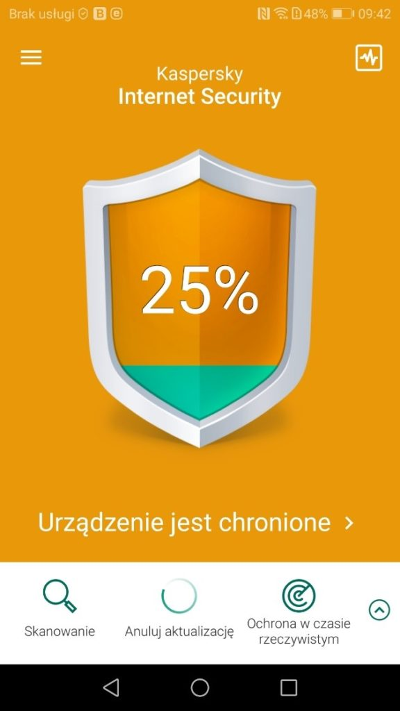 Skuteczny antywirus na smartfony z Androidem - skanowanie antywirusowe Kaspersky