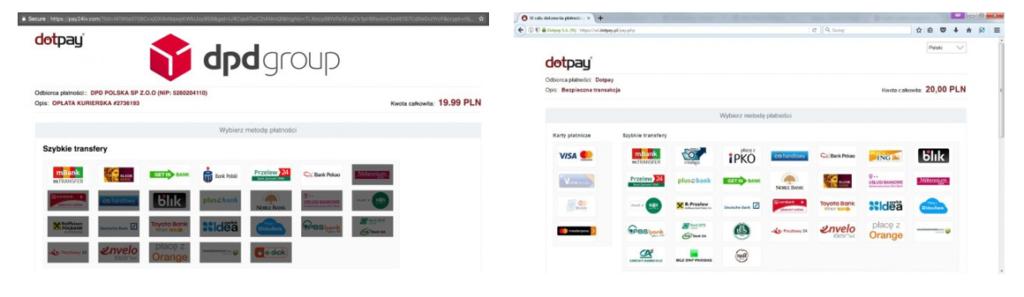 Strona phishingowa Dotpay.