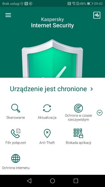 Kaspersky - antywirus na Androida