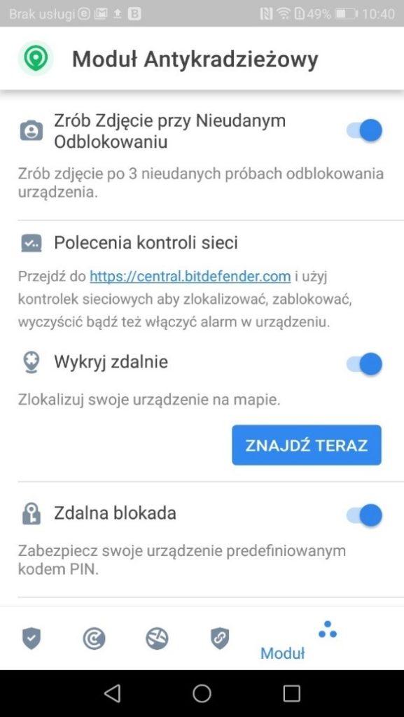 Zabezpieczania smartfona przed kradzieżą w Bitdefender