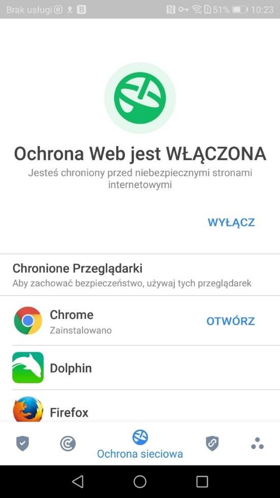 Ochrona sieciowa w antywirusie na Androida - Bitdefender