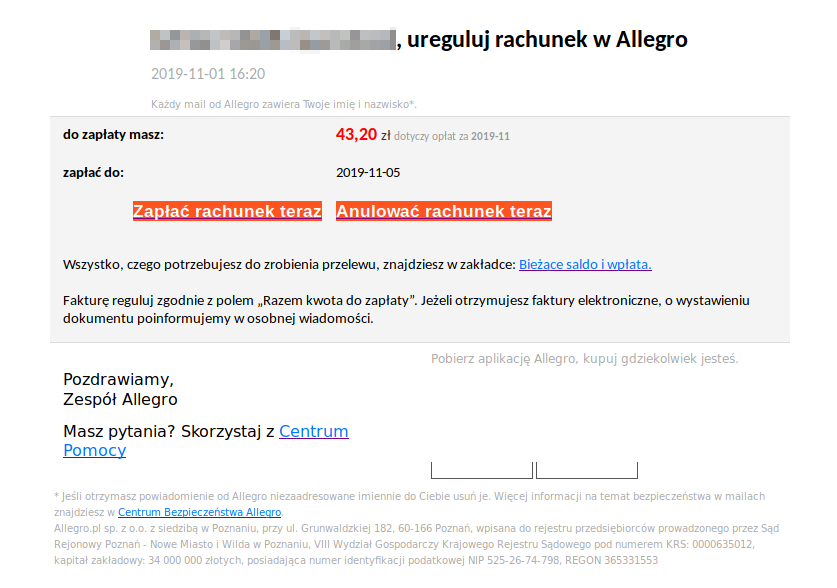 Phishing Allegro - fałszywy email