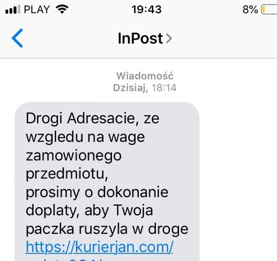 SMS wyłudzający dane użytkownika
