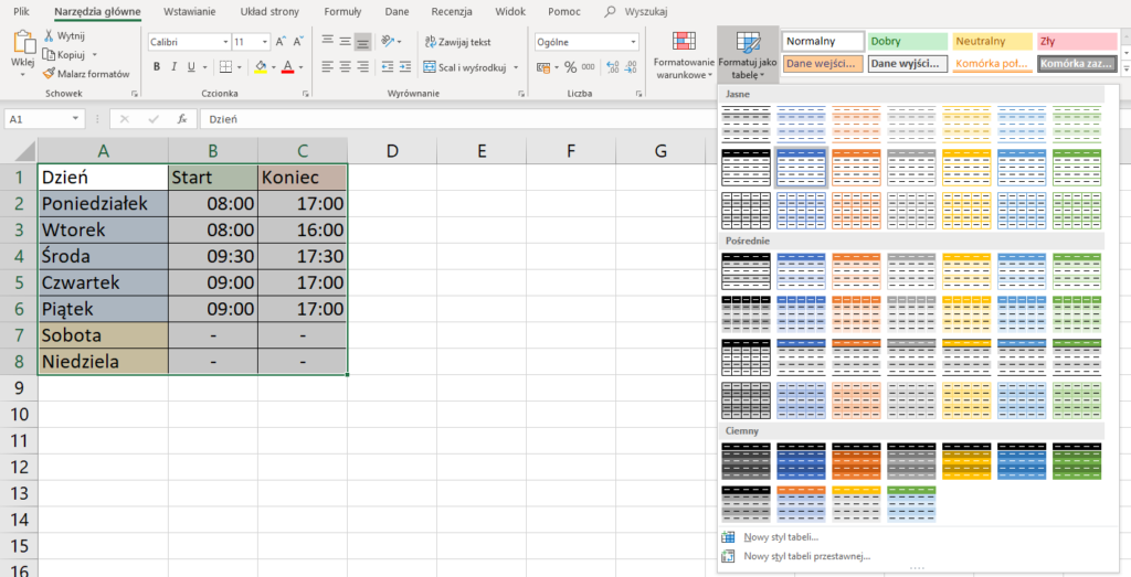 Tabela w Excel - Office 365