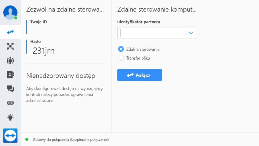 Strona główna programu TeamViewer 14
