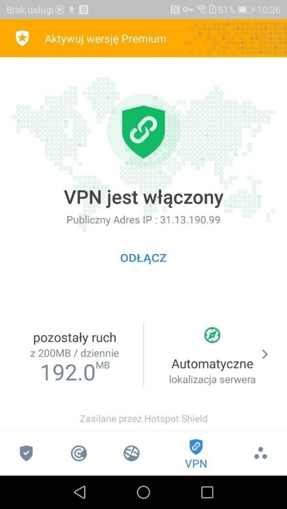VPN w Bitdefender - antywirus na Androida