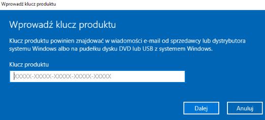 Windows 10 - klucz produktu
