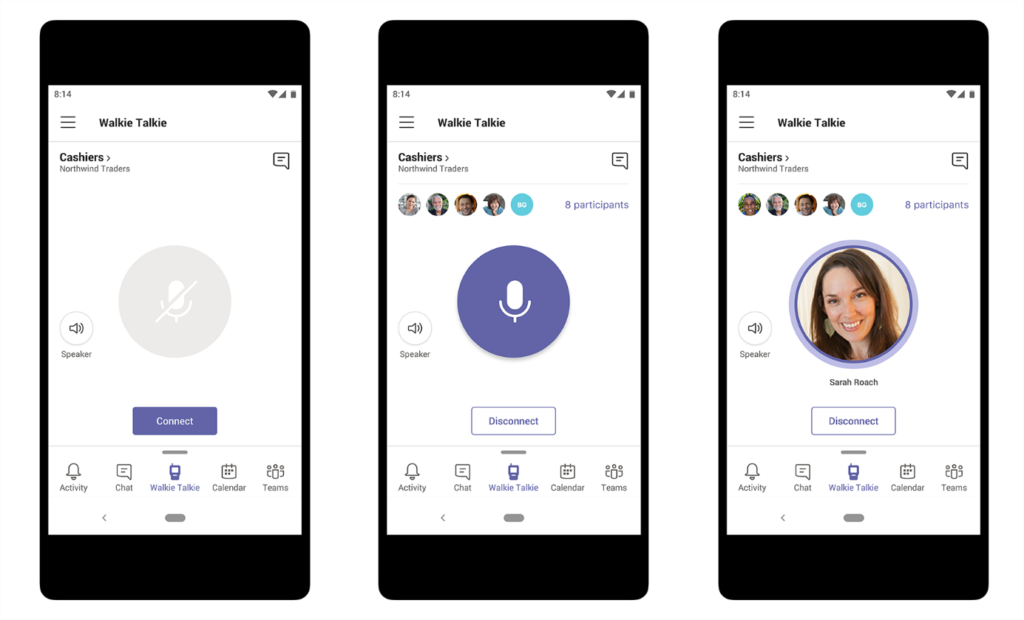 Obraz przedstawiający intuicyjną obsługę funkcji Naciśnij i mów, aby połączyć członków zespołu w Microsoft Teams.  Trzy telefony są wyświetlane na różnych etapach łączenia menedżera z zespołem kasjerów.