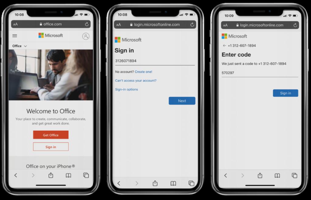 Obraz jednorazowych kodów SMS używanych do logowania do urządzenia.  Trzy telefony wyświetlają kod otrzymany i używany przez pracownika Firstline.