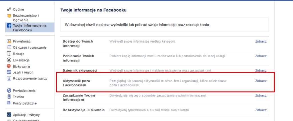 Ustawienia prywatności - Facebook