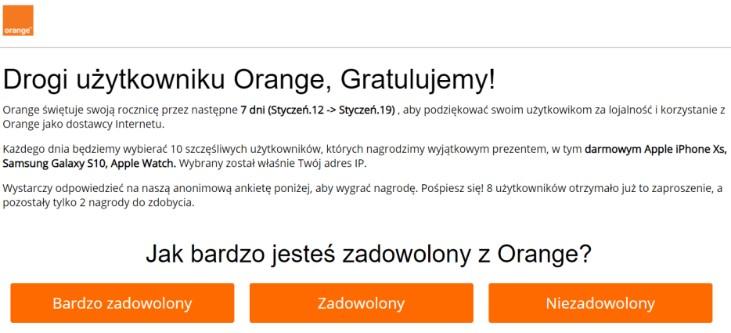 Nowy mail phishingowy od Orange