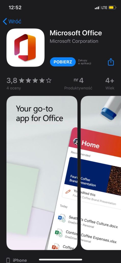 Office 365 na iPhone w Appstore