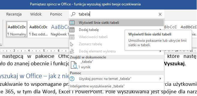 Spincz w Office to nieaktualne rozwiązanie- jak wyszukiwać w opcji Wyszukaj?