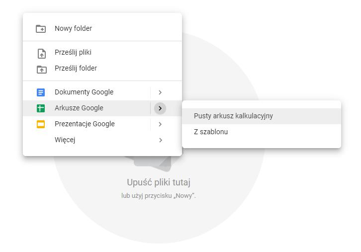 Tworzenie pliku w Arkusze Google