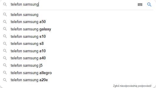 Sugestie proponowane przez Google