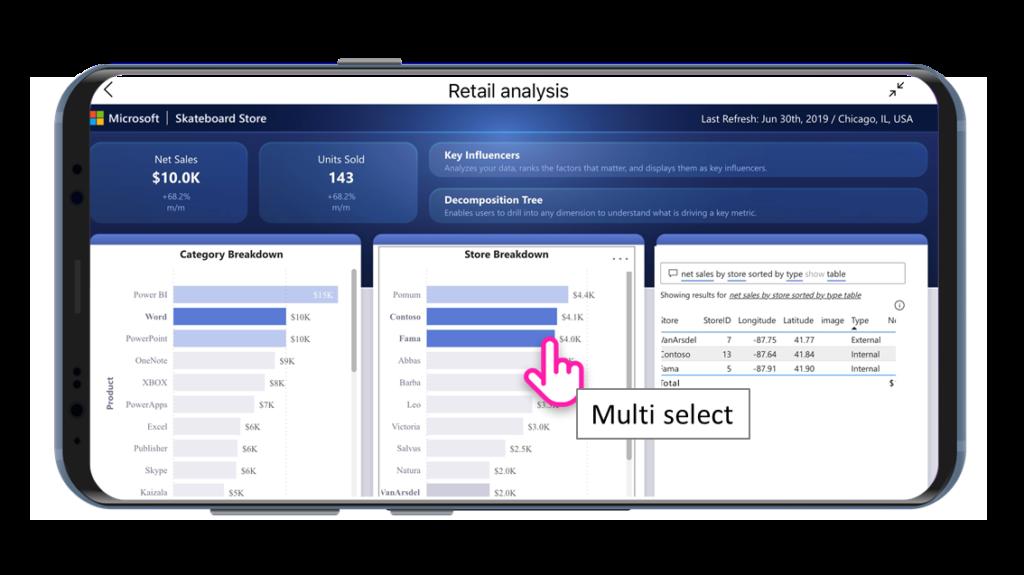Funkcja multi-select w aplikacji mobilnej Power BI