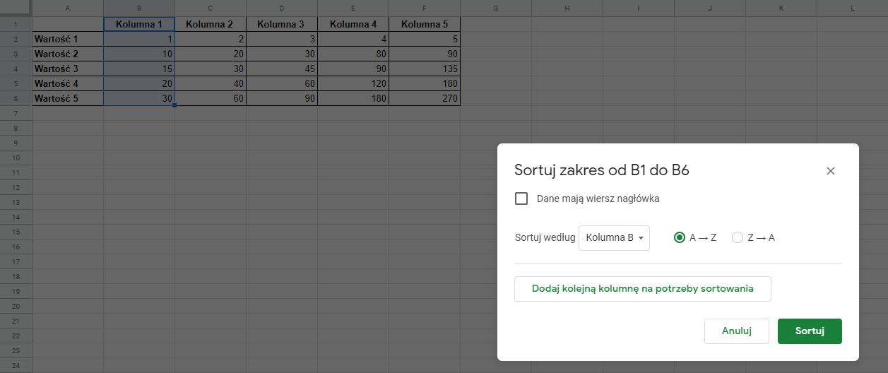 Sortowanie danych w tabeli - Google Sheets
