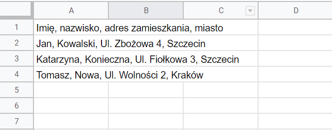 Dzielenie danych na kolumny w narzędziu Google Sheets (Arkusze Google)
