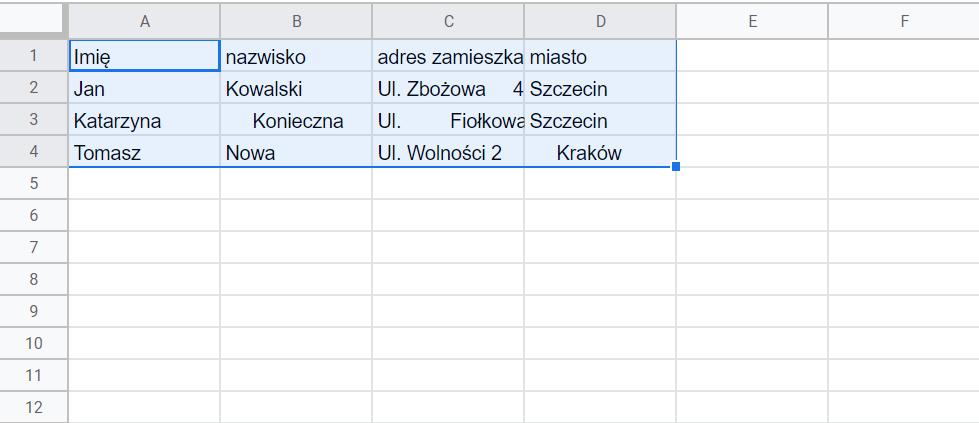 Usuwanie zbędnych spacji w tabeli - Arkusze Google