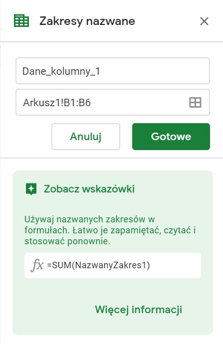 Edytor nazw w Arkuszach Google - tabela przestawna