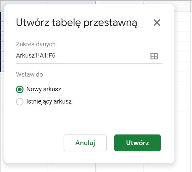 Tworzenie tabeli przestawnej w Google Sheets