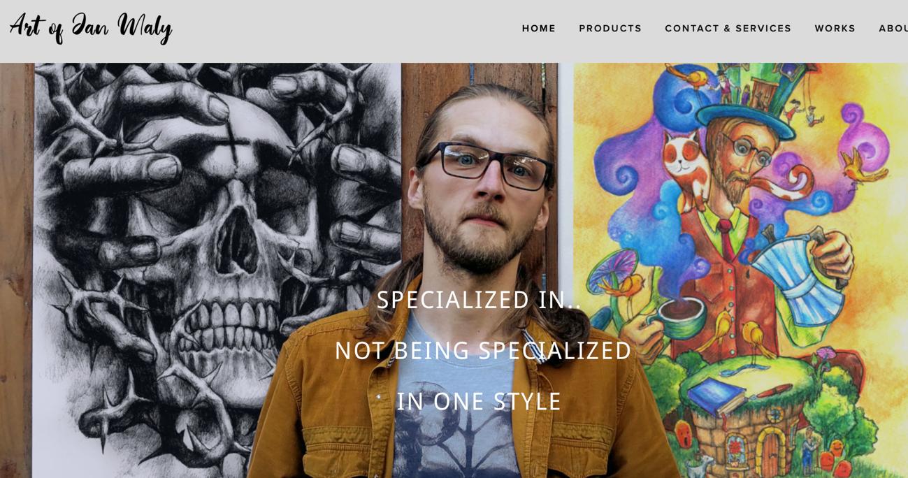 Przykład sklepu internetowego w domenie .art - tatuażysta i artysta