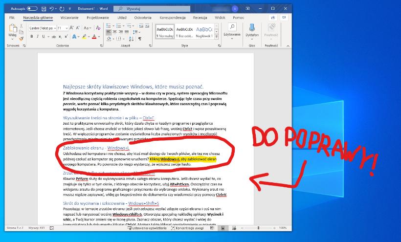 Skrót klawiszowy w Windows 10 - wycinanie i szkicowanie