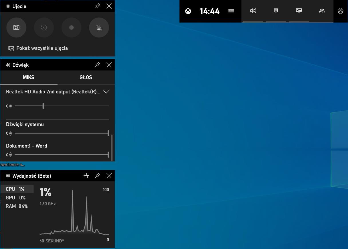 Skrót klawiszowy w Windows 10 - nakładka dla graczy