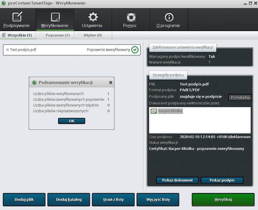 Aplikacja proCertum SmartSign - podpisywanie i weryfikowanie (walidacja) sygnatur cyfrowych.