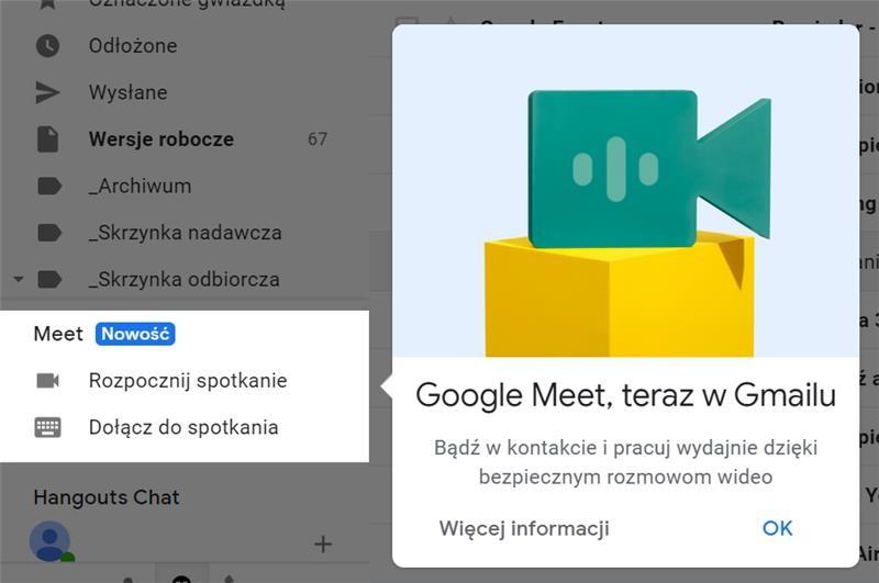 Komunikator i wideokonferencje Google Meet bezpośrednio w Gmail