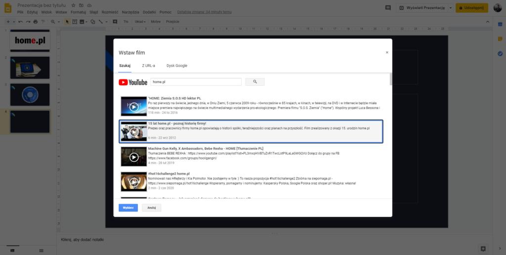 Jak osadzić film z YouTube w Google Prezentacje?
