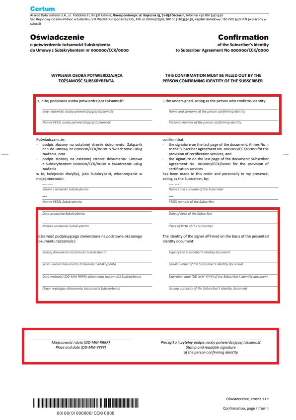 Formularz poświadczenia tożsamości dla certyfikatu kwalifikowanego.