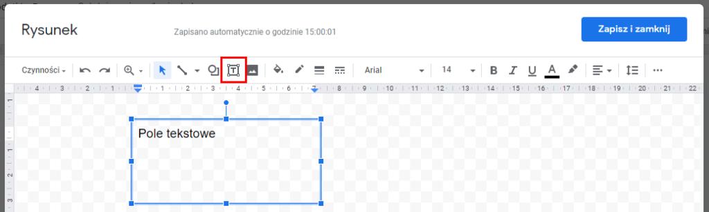 Jak dodać pole tekstowe w dokumentach Google?