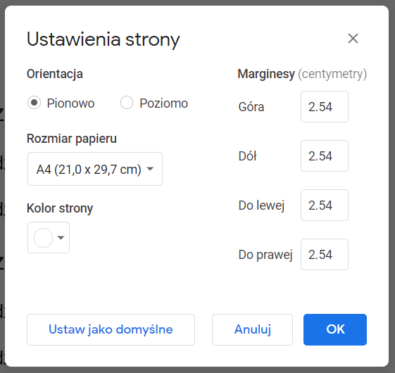 Obracanie strony Google Docs