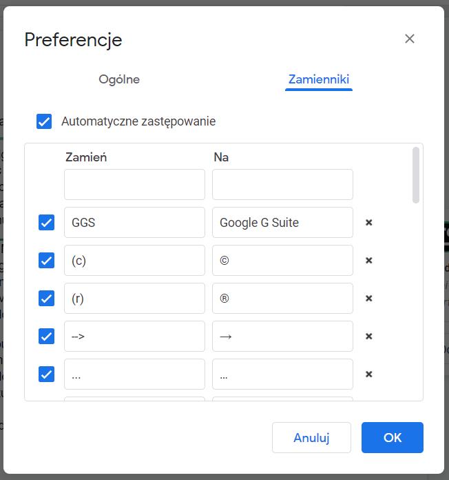 Google Docs zamienniki w tekscie