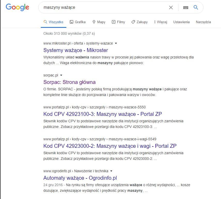 Strona WWW dla producenta - pozycjonowanie i pozycja w wyszukiwarce Google