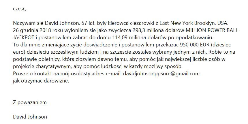 Wiadomość spam z poczty email