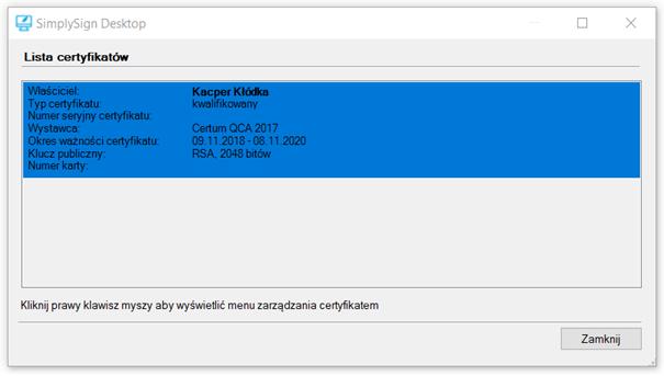 Lista certyfikatów w SimplySign Desktop