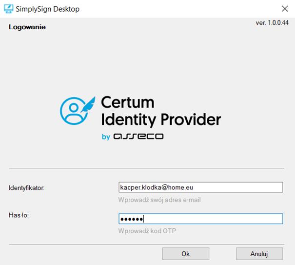 SimplySign Desktop wymaga kodu OTP - znajdziesz go w swoim smartfonie w aplikacji SimplySign