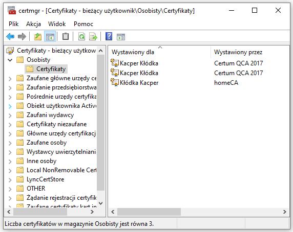Magazyn systemowy certyfikatów w systemie Windows